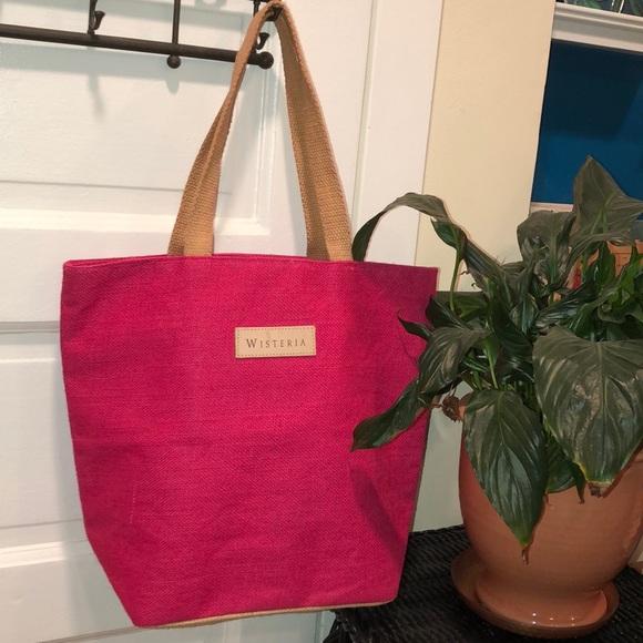 PRETTY,STRONG & PRACTICAL-PINK BURLAP BAG 16x14